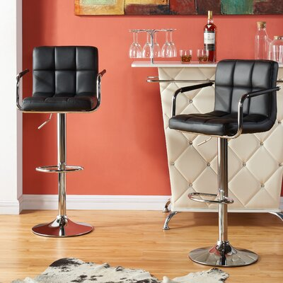 Attalus Adjustable Swivel Bar Stool Fabric: Black PU Leather