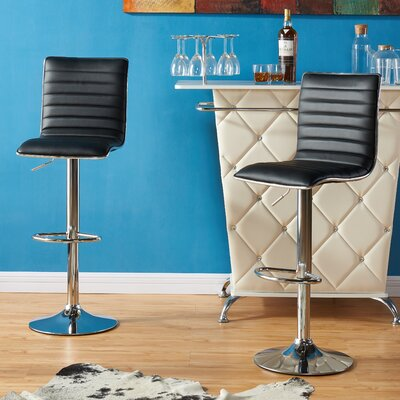 Diann Bar Stool Fabric: Black PU Leather