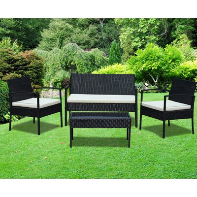 Rattan Wicker Patio 4 Piece Lounge Seating Group with Cushion