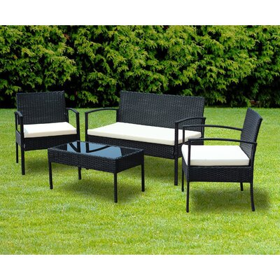 Porath Outdoor 4 Piece Rattan Sofa Set with Cushions Cushion Color: White
