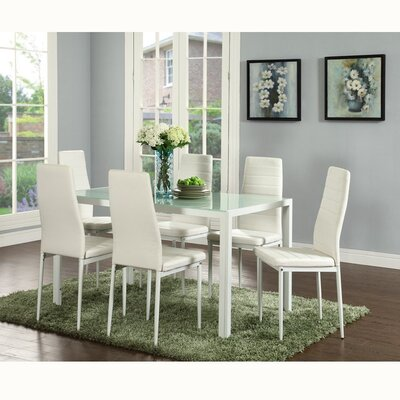Renick Modern 7 Piece Dining Set Color: White