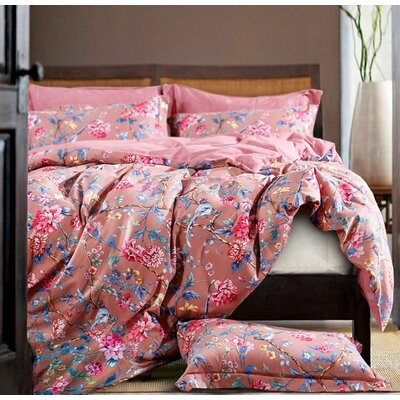 Botanical Garden Duvet Cover Set Size: King, Color: Pink