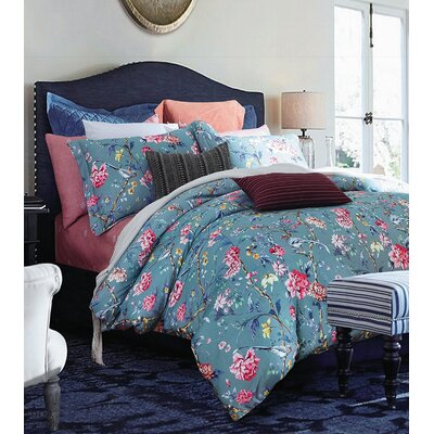 Botanical Garden Duvet Cover Set Size: King, Color: Blue