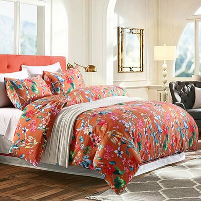 Tropical Floral Duvet Cover Set Size: Full/Queen