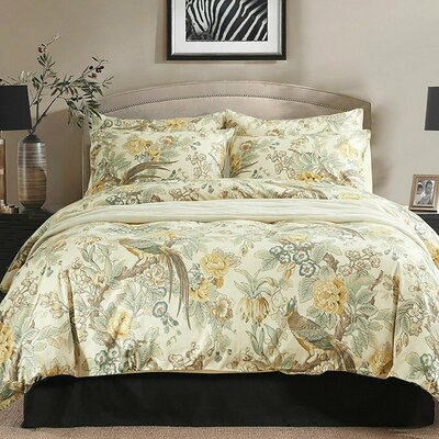 Chinoiserie Chic Peacock Floral Duvet Cover Set Size: Full/Queen