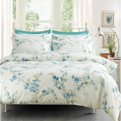 Garden Chinoiserie Floral Duvet Quilt Cover Set Size: Full/Queen