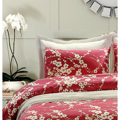 Japanese Oriental Floral Duvet Cover Set Size: Twin