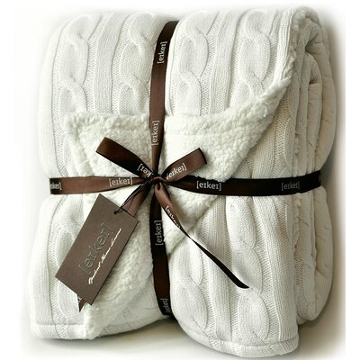 Cable Knit Sherpa Oversized Faux Sheepskin Lined Cozy Throw