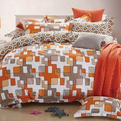 Scandinavian Midcentury Modern Geo Print Reversible Quilt Set Size: Twin