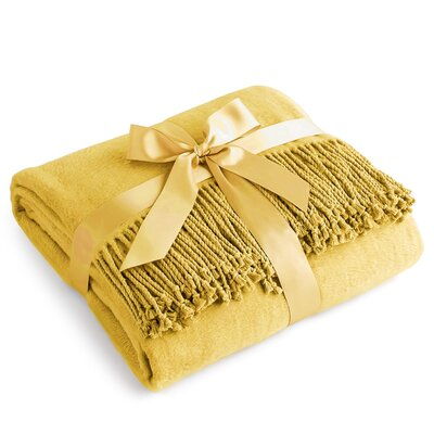 Pelagios Pure 100% Silk Throw Color: Mustard Yellow