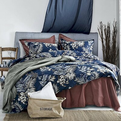 Osmanu Modern Luxury Botanical Minimal Palm Leaf Floral 100% Cotton 3 Piece Duvet Set Size: King