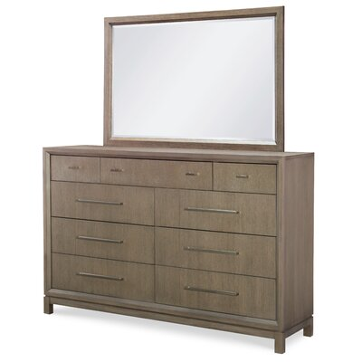 Highline By Rachael Ray Home 9 Drawer Double Dresser with Mirror