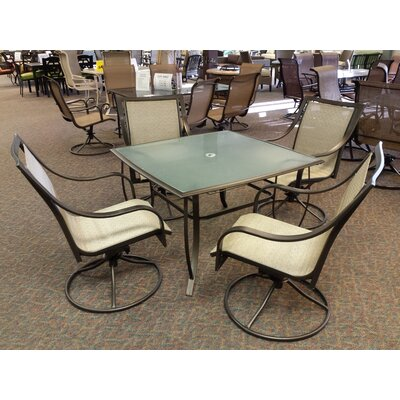 Savannah Steel Swivel Rocker 5 Piece Dining Set