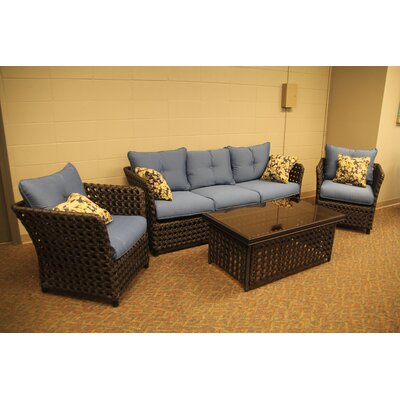 Monoco Bay Aluminum 4 Piece Deep Seating Group with Cushions