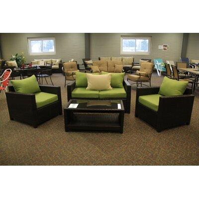 Jakarta 4 Piece Deep Seating Group with Cushions