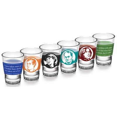 6 Piece Literary Great Drinkers 2 oz. Shot Glass Set 0034