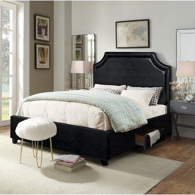 Louis Storage Platform Bed Size: King, Color: Black