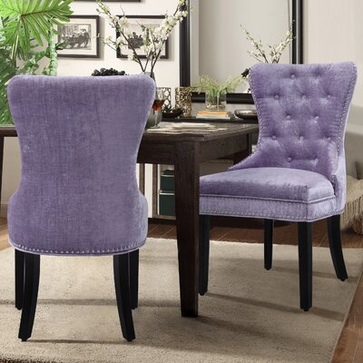 Loganne Upholstered Dining Chair Upholstery: Purple