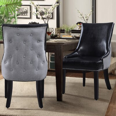 Brando Genuine Leather Upholstered Dining Chair Upholstery: Black