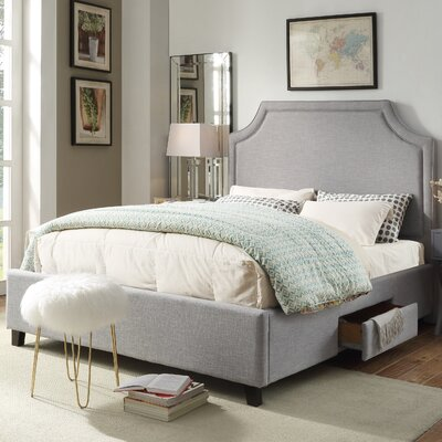 Louis Storage Platform Bed Size: King, Upholstery: Light Gray