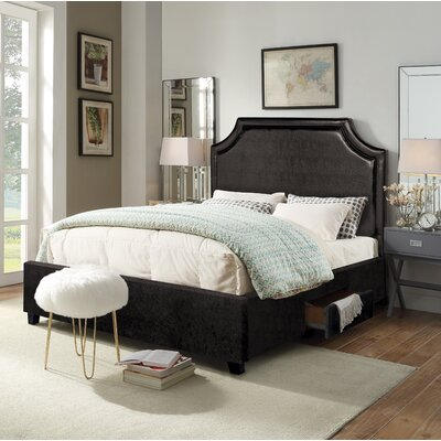 Louis Storage Platform Bed Size: Queen, Color: Espresso