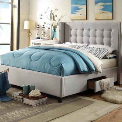 Charles Storage Platform Bed Size: Queen, Color: Light Gray
