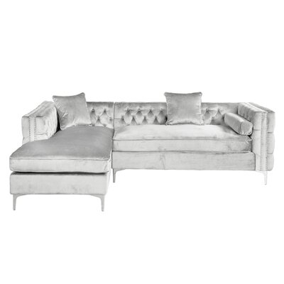 Marlon Sectional Upholstery: Silver, Orientation: Left Hand Facing