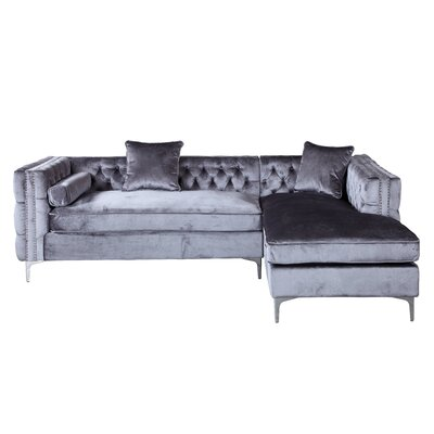 Marlon Sectional Upholstery: Gray, Orientation: Right Hand Facing