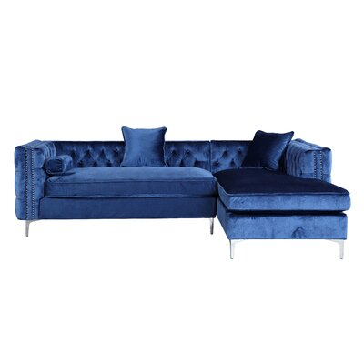 Marlon Sectional Upholstery: Navy, Orientation: Right Hand Facing