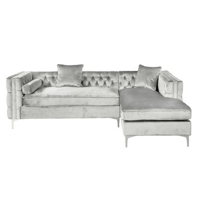 Marlon Sectional Upholstery: Silver, Orientation: Right Hand Facing