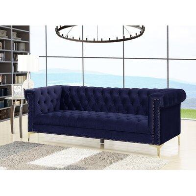 Bea Velvet Chesterfield Sofa Upholstery: Navy
