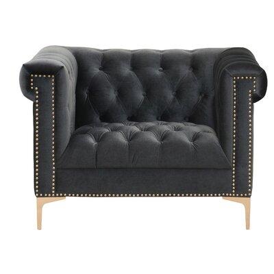 Bea Velvet Club Chair Upholstery: Grey