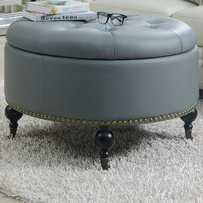 Mona Hidden Storage Leather Ottoman Upholstery: Gray
