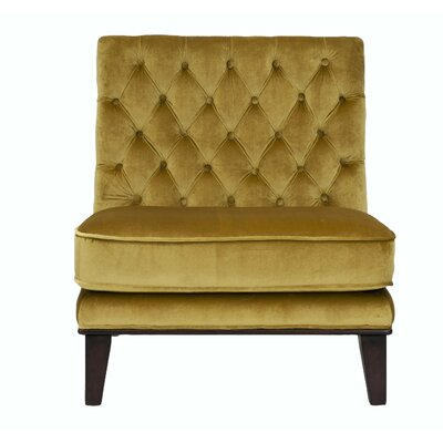 Achilles Neo Tufted Velvet Slipper Chair Upholstery: Cognac