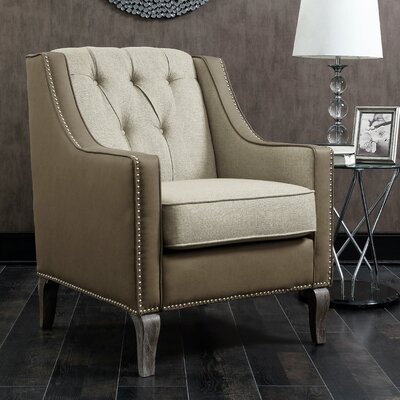Kaven Linen Leatherette Nailhead Armchair Upholstery: Beige