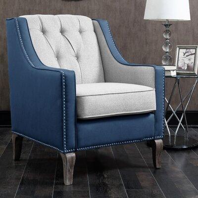 Kaven Linen Leatherette Nailhead Armchair Upholstery: Blue