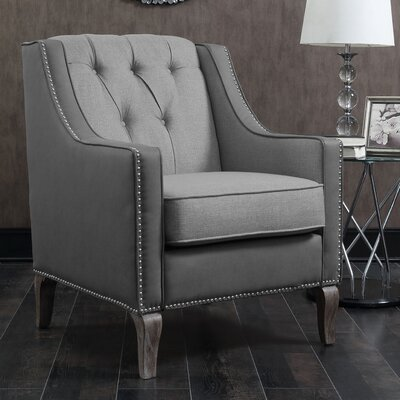 Kaven Linen Leatherette Nailhead Armchair Upholstery: Gray