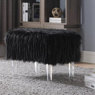 Melia Leg Ottoman Upholstery: Black