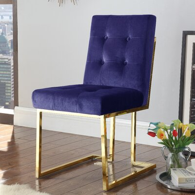 Zoila Upholstered Dining Chair Upholstery: Navy