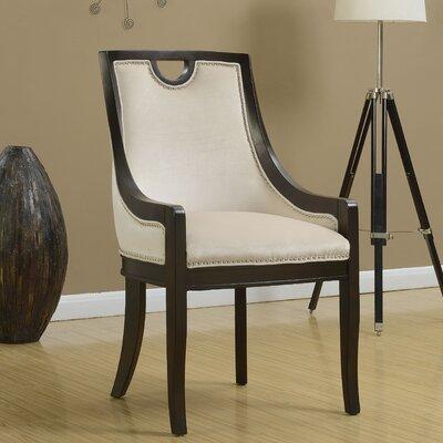Adebay Nailhead Upholstered Dining Chair Upholstery: Beige