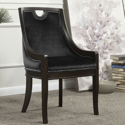 Adebay Nailhead Upholstered Dining Chair Upholstery: Black