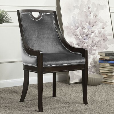Adebay Nailhead Upholstered Dining Chair Upholstery: Gray