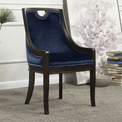 Adebay Nailhead Upholstered Dining Chair Upholstery: Navy