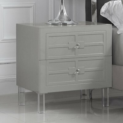 Bournon 2 Drawer Nightstand Finish: Gray