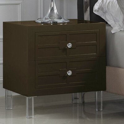 Bournon 2 Drawer Nightstand Finish: Brown