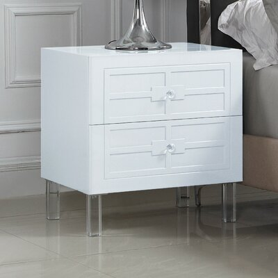 Bournon 2 Drawer Nightstand Color: White
