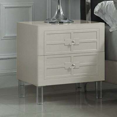 Bournon 2 Drawer Nightstand Color: Beige