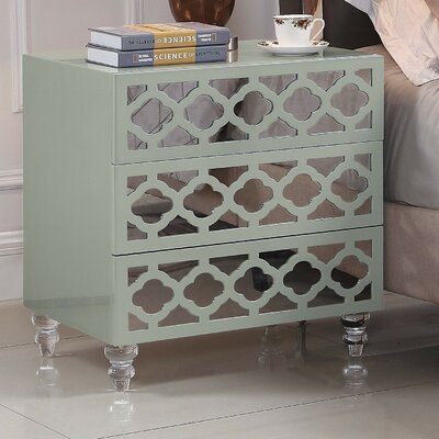Connie 3 Drawer Nightstand Finish: Gray