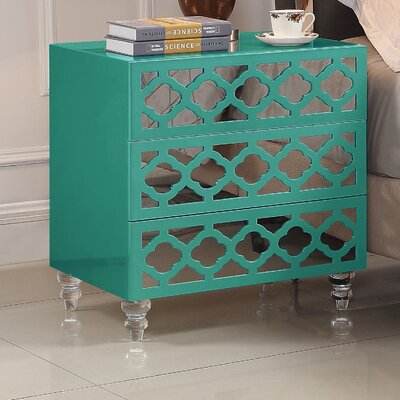 Connie 3 Drawer Nightstand Color: Turquoise