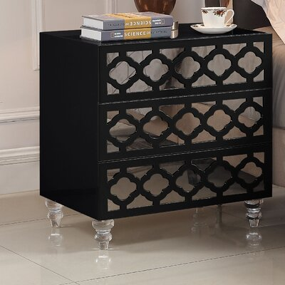Connie 3 Drawer Nightstand Color: Black